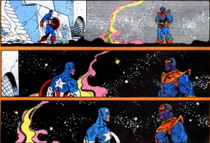 Captain America faces Thanos in Infinity Gauntlet